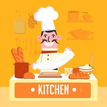pastry work background cook flour bread icons