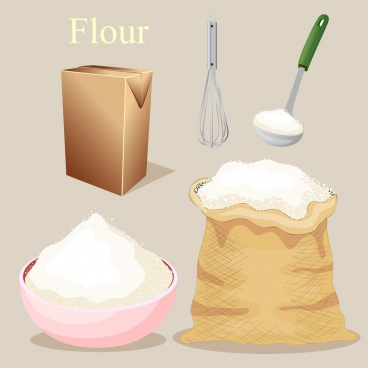 pastry work design elements flour utensils icons