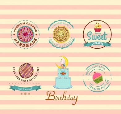 pasty logos collection multicolored flat decor