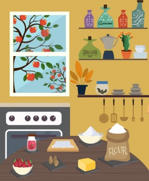 pasty work background kitchenware icons decor