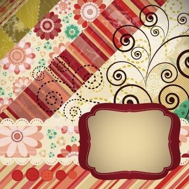 card cover background vintage colors blended floral decor