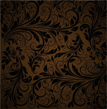 flora pattern dark retro swirled decor