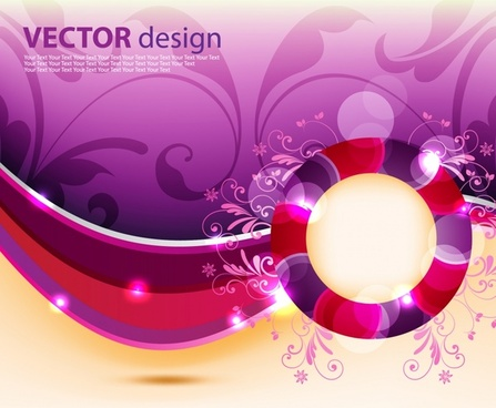 decorative background shiny colorful floral curves decor