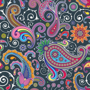 abstract pattern colorful flat classical curves design
