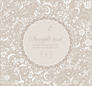 card pattern template elegant classical flora sketch