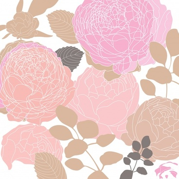 floral painting colored flat classic handdrawn sketch