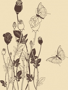 nature painting roses butterflies sketch retro handdrawn