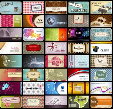 name card templates colorful modern retro design