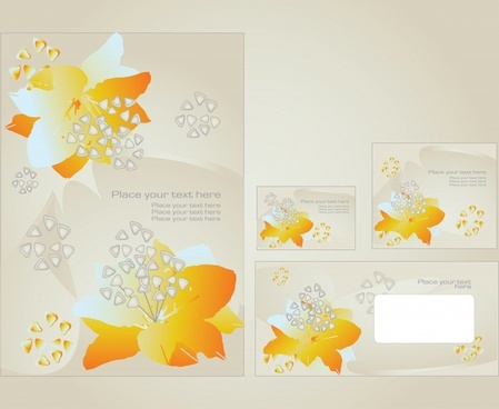 decorative card templates bright modern petal decor