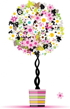 decorated tree icon modern colorful flat sketch