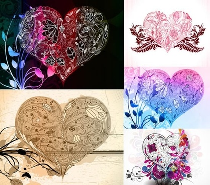 decor heart templates artistic design leaves ornament