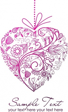 love background classical flat botany heart shapes layout