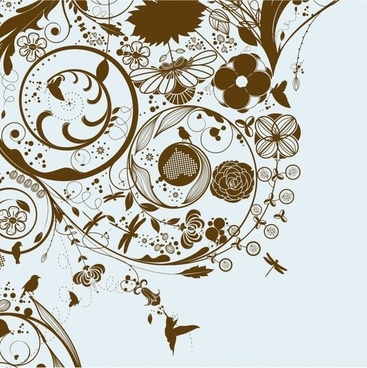 nature pattern template dark classical flora bird sketch
