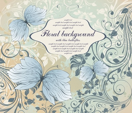 nature background retro design floral butterflies sketch