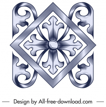 pattern design element elegant symmetrical floral decor