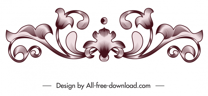 pattern design element symmetrical vintage flora shape