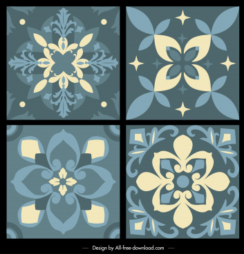 pattern design elements classical petals sketch flat symmetric