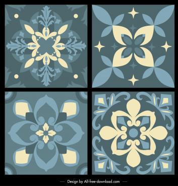 pattern design elements classical petals sketch flat symmetric