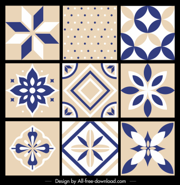 pattern design elements classical petals spots geometric decor