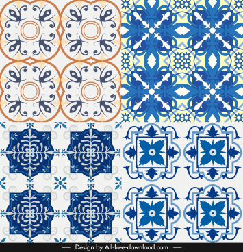 pattern design elements classical symmetric repeating floras decor