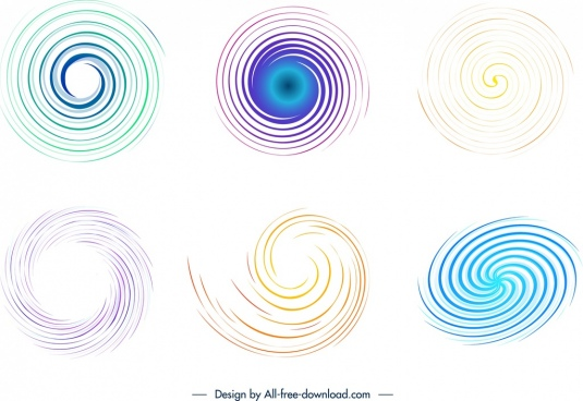 pattern design elements colored spiral curves sketch