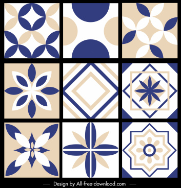 pattern design elements flat symmetrical flora geometric decor