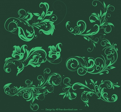 pattern design elements green retro curves sketch