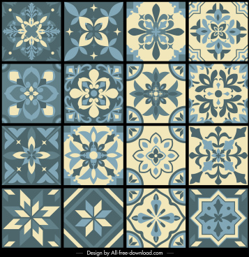 pattern design elements petals sketch flat symmetrical design