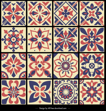 pattern design elements symmetrical petals sketch retro design