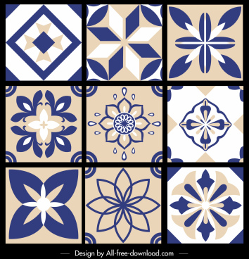 pattern elements templates flat retro symmetrical flora shapes