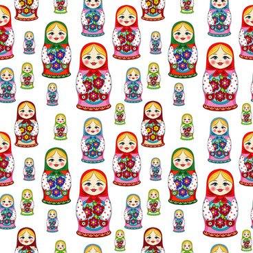 pattern russian doll seamless vector