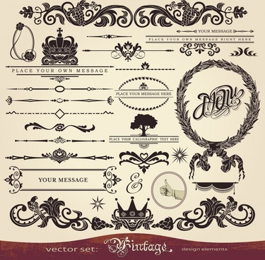 menu decor elements elegant vintage shapes