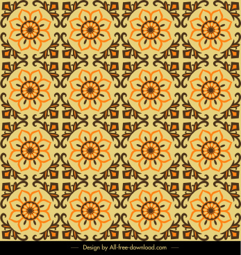 pattern template classical circle flora decor repeating symmetry