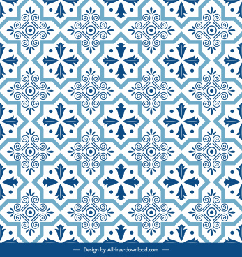 pattern template classical flat blue repeating symmetric decor