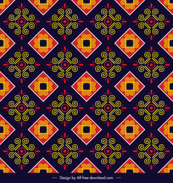 pattern template multicolored flat repeating symmetric elegant decor