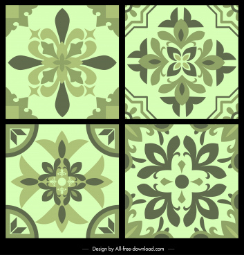 pattern templates classical floras decor symmetrical monochrome