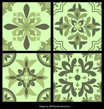 pattern templates classical floras decor symmetrical monochrome