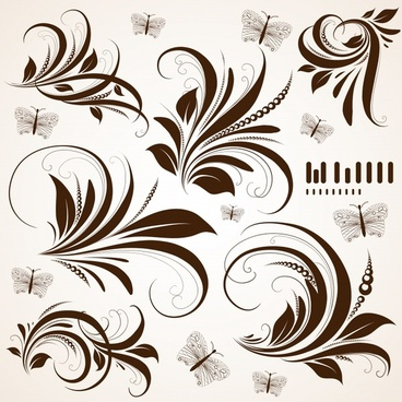 pattern design elements flowers feather icons classical curves