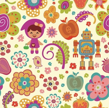 pattern vector cute cartoon flowers