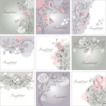 floral background templates elegant flat handdrawn sketch