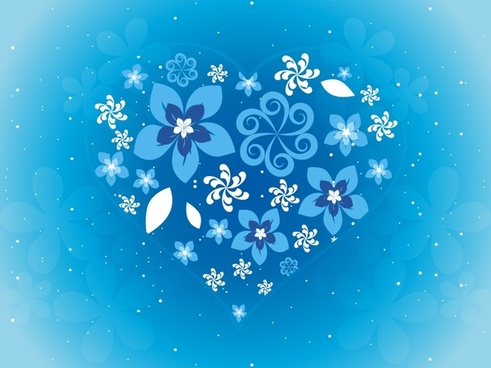 valentine background flowers decor heart layout sparkling blue