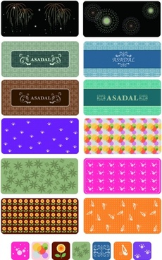 colorful pattern background sets various colored types