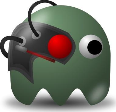 Pcman Game Baddie Borg clip art