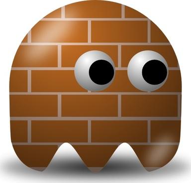 Pcman Game Baddie Bricky clip art