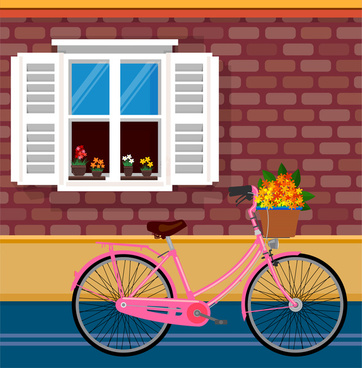 peaceful drawing illustration with flowers bicyle near window