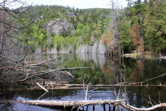 peaceful lake on the mountain in the adirondack mountains new york
