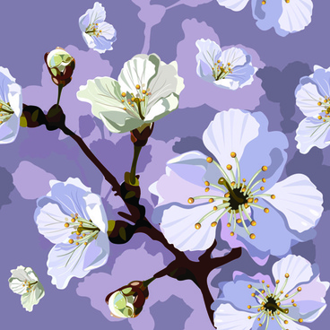 peach blossom seamless pattern vector