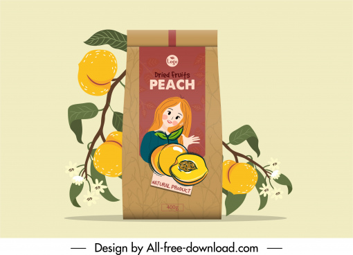 peach fruit package template classical handdrawn decor