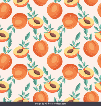 peach fruits pattern bright colored classical design