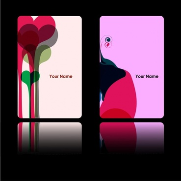 card templates hearts shapes abstract decor colorful design